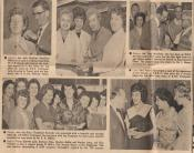 Article 2, number of photos of BNS staff.  Photo 1 is of Mrs Julie Watkins (Julie Moore) (Machine Office Clerk) receiving a necklace for six years� service at BNS. She was going out to Tripoli with her husband who was in the Military Police.